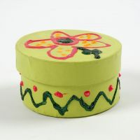 A painted round Box with a Lid, decorated with Glitter