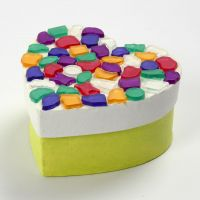 A painted heart-shaped Box with Mosaics on the Lid