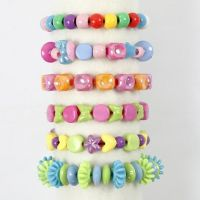 Bracelets made from Plastic Beads on coloured Elastic Beading Cord