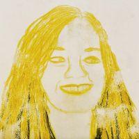 A Portrait made as Mono Print with Caran d´Ache Neocolor II