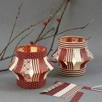Lanterns made from Paper Star Strips on Tea Light Candle Holders