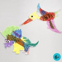 White Card Dinosaur & Pterodactyl, coloured-in & decorated