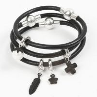 A black Leather Bracelet with Charms and a magnetic Clasp
