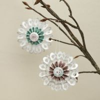 Paper Rosettes decorated with Masking Tape and a Button