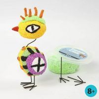 A Bird made from Foam Clay on Polystyrene Eggs with Metal Legs