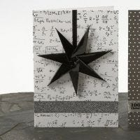 A Christmas Card with a  Seven-Pointed Star in a Ribbon