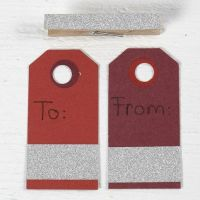 Manilla Tags decorated with glittery Masking Tape