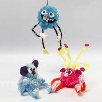 A Fantasy Animals made from Pom-poms, Pipe Cleaners, Beads and Silk Clay