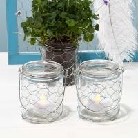 Candle Holders with a coloured Chicken Wire Netting Waist Band