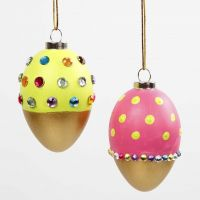 Painted Eggs with Gold, decorated with Rhinestones
