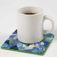 A painted Coaster with Glass Mosaic