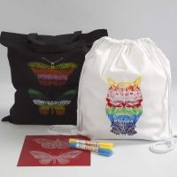 A Shopping Bag and a Drawstring Bag decorated with Screen Stencils and Wax Paint Sticks