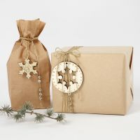 Gift Wrapping decorated with Gold Decorations