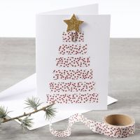 A Christmas Card with a Christmas Tree made from Masking Tape