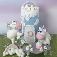 A Unicorn and Castle from Silk Clay