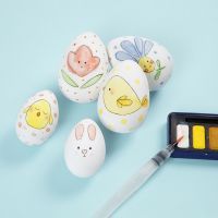 Easter Eggs with a Watercolour Design