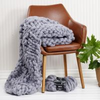 A hand-knitted blanket from XL chunky yarn