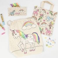 A Unicorn Pencil Case, Shopping Bag and Drawstring Bag decorated with Textile Markers, Glitter and Sequins
