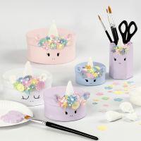 Unicorn Papier-mâché Boxes with  Foam Clay Decoration