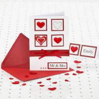 A red and white Wedding Card with Rhinestones