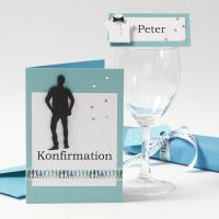 An Invitation and Table Decorations for a Boy's Confirmation Party
