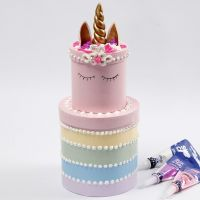 The Rainbow Layer Cake made from round Boxes decorated with Silk Clay Creamy