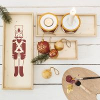 A Tray with a Nutcracker stencilled Design