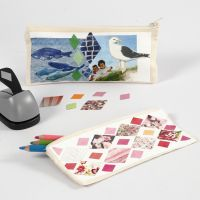 A Pencil Case decorated with Collage Print