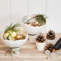 Gauze Bandage Bowls with Glitter balanced on Pots
