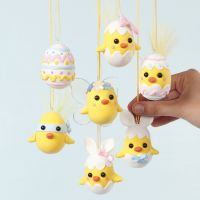 Easter Chicks made from Polystyrene Eggs and Silk Clay
