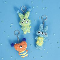 Fabric Animal Keyrings decorated with Pearl  Clay