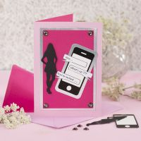 An Invitation for a Confirmation Party with a  Card Mobile Phone Design and a Card Silhouette