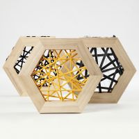 String Art with Cotton Tube  Yarn in hexagonal wooden Frames