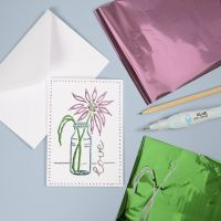 A Greeting Card with Deco Foil using a hand-drawn Design
