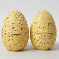 Two-piece Eggs decorated with Terrazzo Flakes and Craft Paint