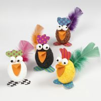 Hens from Polystyrene Eggs decorated with Foam Clay, Card and Feathers