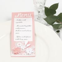 A Menu Card with Lace patterned Card and punched-out Flowers