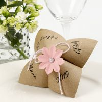 A Paper Fortune Teller Menu Card with a punched-out Flower