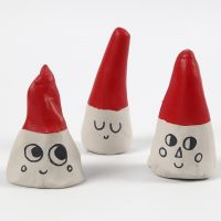Elves made from Cones of self-hardening Clay