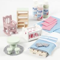 Doll's house furniture decorated with felt and craft paint