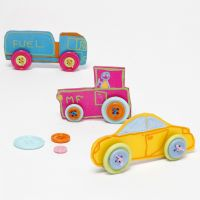 Cars made from decorated Shrink Plastic Sheet with Buttons for Wheels