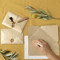 A homemade envelope closed with a waxed seal