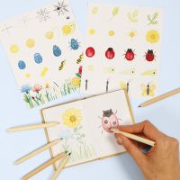 Learn how to draw insects and flowers in a nature book