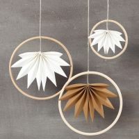 Hanging decorations made from bamboo rings and faux leather paper leaves