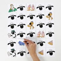 Shawn the Sheep memory game decorated with markers