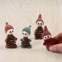 Elves made from pine cones and Silk Clay