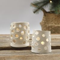 Lanterns from self-hardening clay with punched-out holes