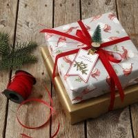 Christmas gift wrapping decorated with a mini Christmas tree on a peg