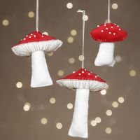 Felt toadstools decorated with rocaille seed beads