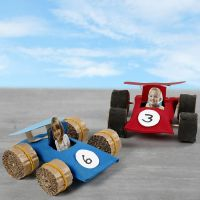 Racing cars made from cardboard tubes